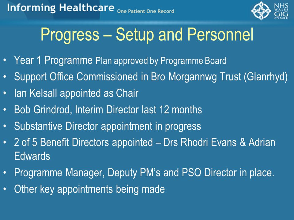 Progress – Setup and Personnel Year 1 Programme Plan approved by Programme Board Support Office Commissioned in Bro Morgannwg Trust (Glanrhyd) Ian Kel