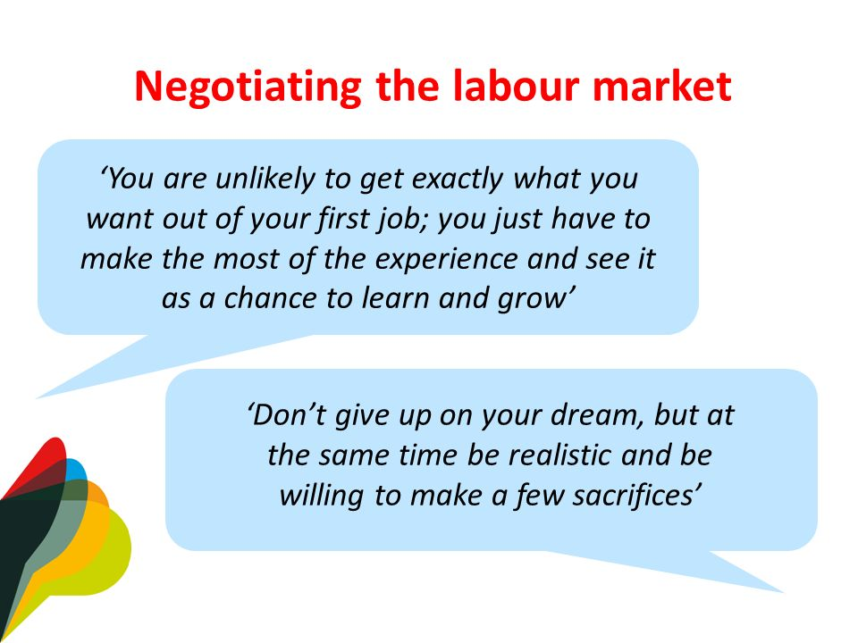 Negotiating the labour market Dont give up on your dream, but at the same time be realistic and be willing to make a few sacrifices You are unlikely to get exactly what you want out of your first job; you just have to make the most of the experience and see it as a chance to learn and grow