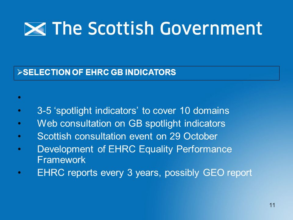 11 3-5 spotlight indicators to cover 10 domains Web consultation on GB spotlight indicators Scottish consultation event on 29 October Development of E