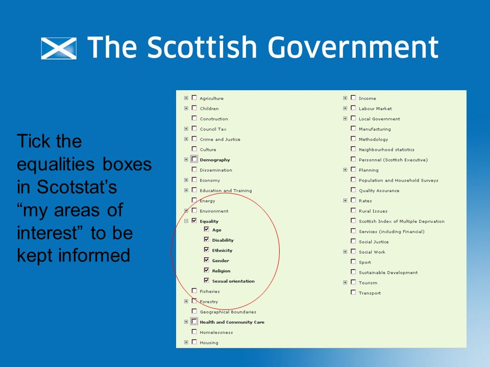 12 Tick the equalities boxes in Scotstats my areas of interest to be kept informed