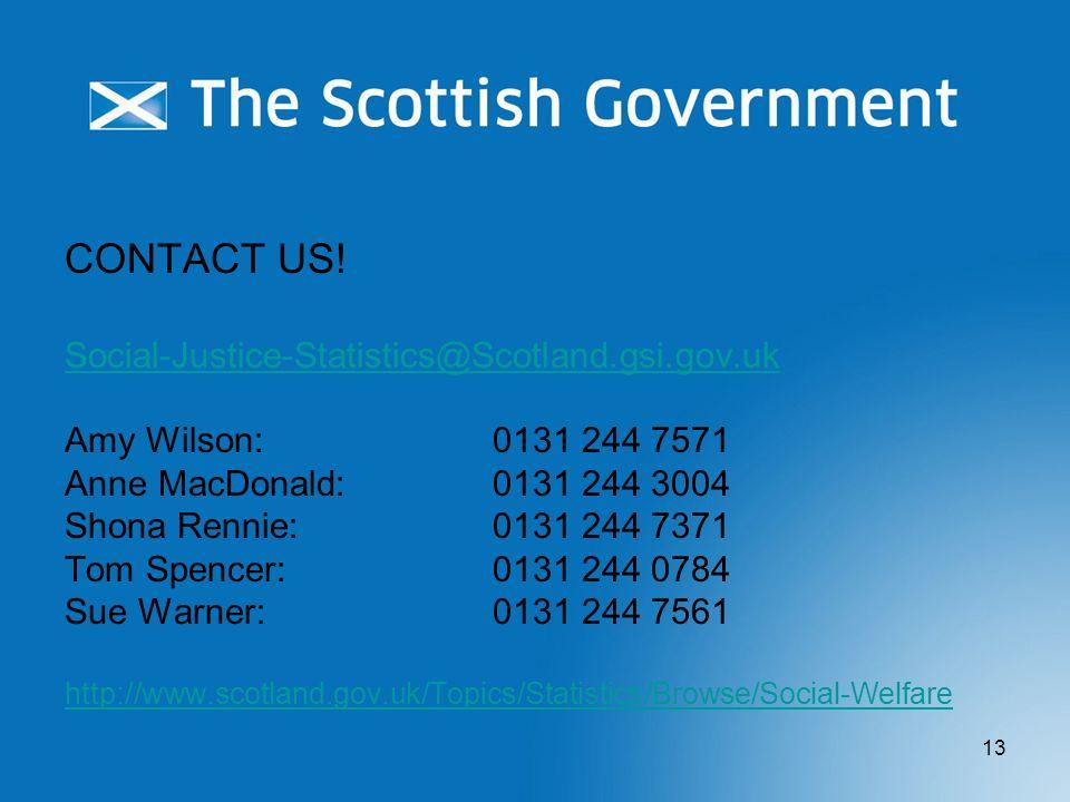 13 CONTACT US! Social-Justice-Statistics@Scotland.gsi.gov.uk Amy Wilson: 0131 244 7571 Anne MacDonald:0131 244 3004 Shona Rennie: 0131 244 7371 Tom Sp