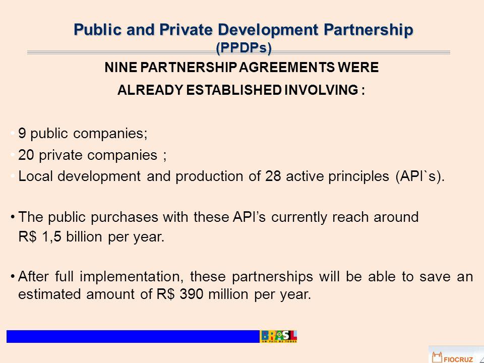 Public and Private Development Partnership (PPDPs) NINE PARTNERSHIP AGREEMENTS WERE ALREADY ESTABLISHED INVOLVING : 9 public companies; 20 private com