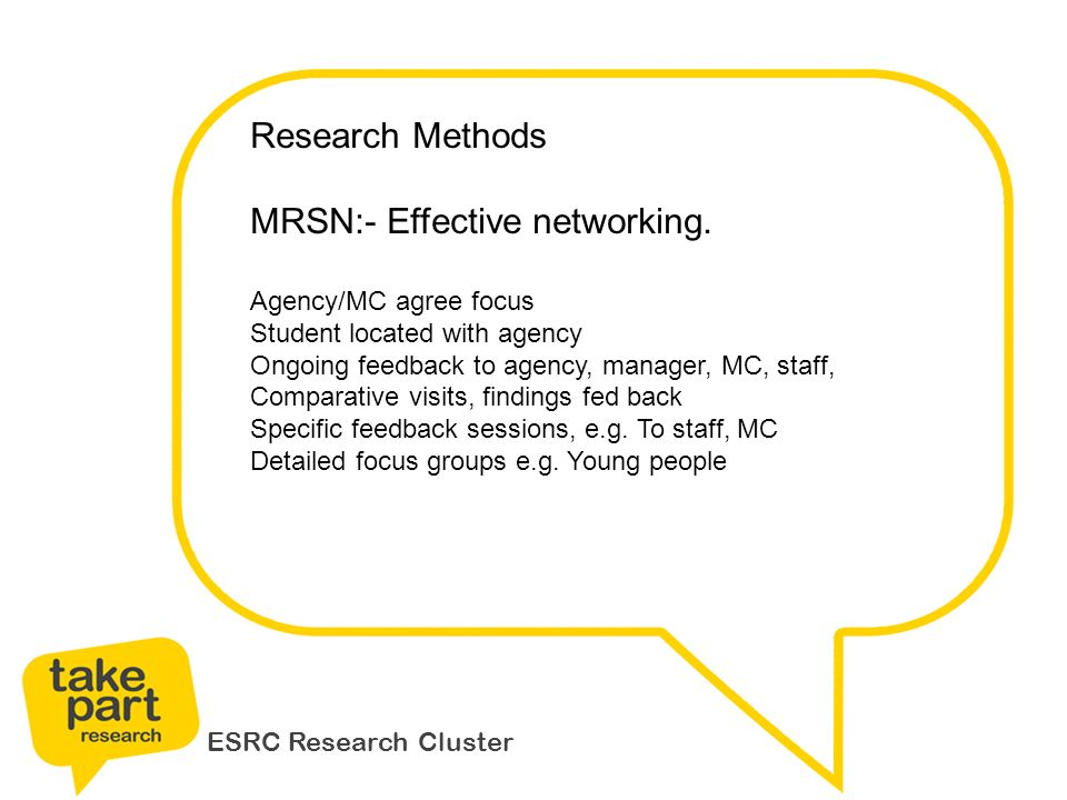 ESRC Research Cluster Research Methods MRSN:- Effective networking.