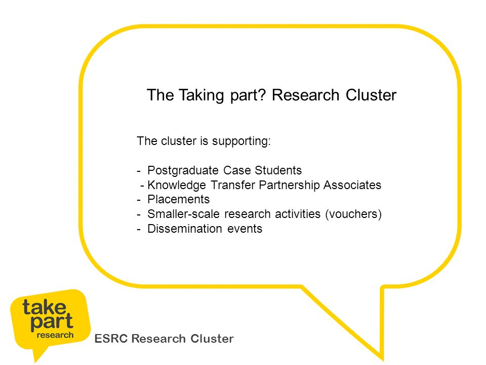 ESRC Research Cluster The Taking part.