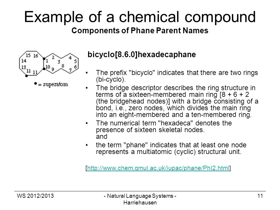 WS 2012/2013- Natural Language Systems - Harriehausen 11 Example of a chemical compound Components of Phane Parent Names bicyclo[8.6.0]hexadecaphane T