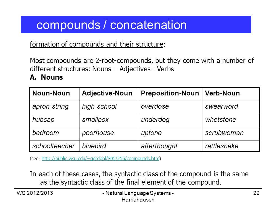WS 2012/2013- Natural Language Systems - Harriehausen 22 formation of compounds and their structure: Most compounds are 2-root-compounds, but they com