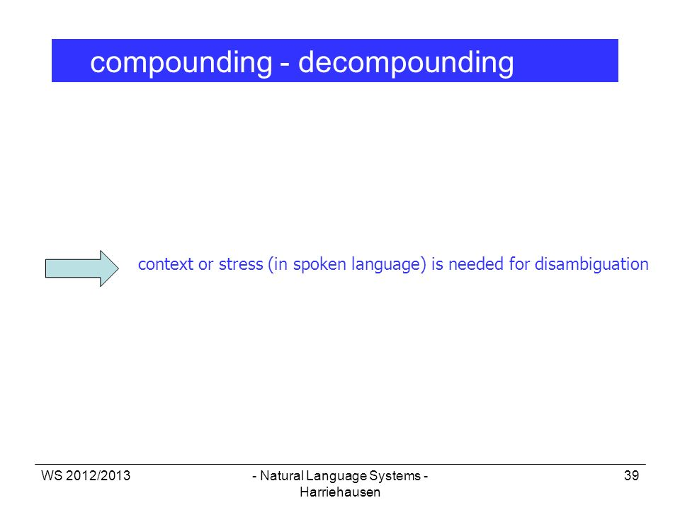 WS 2012/2013- Natural Language Systems - Harriehausen 39 compounding - decompounding context or stress (in spoken language) is needed for disambiguati