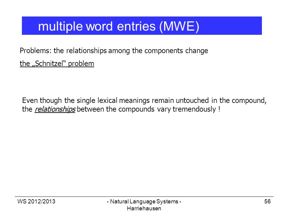 WS 2012/2013- Natural Language Systems - Harriehausen 56 multiple word entries (MWE) Problems: the relationships among the components change the Schni