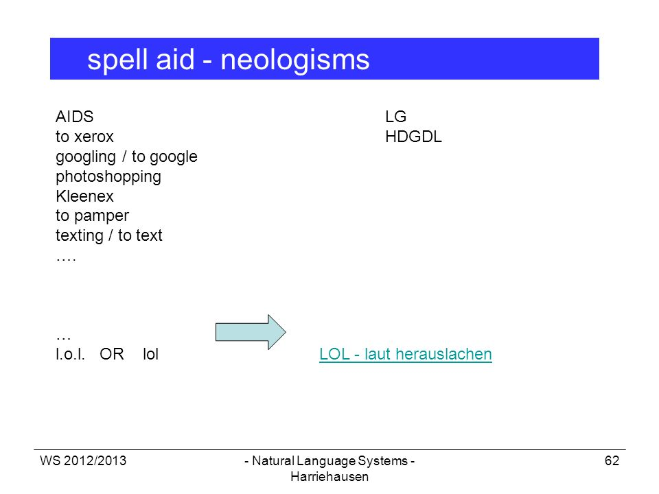 WS 2012/2013- Natural Language Systems - Harriehausen 62 spell aid - neologisms AIDSLG to xerox HDGDL googling / to google photoshopping Kleenex to pa