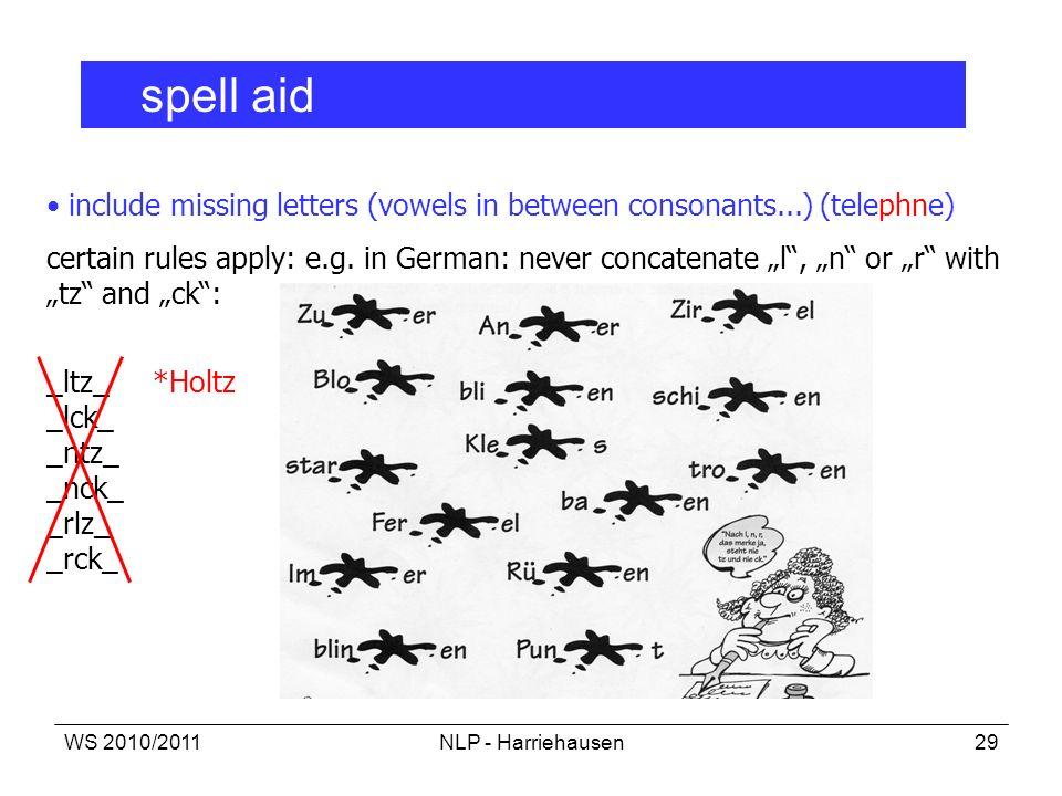 WS 2010/2011NLP - Harriehausen29 spell aid include missing letters (vowels in between consonants...) (telephne) certain rules apply: e.g. in German: n