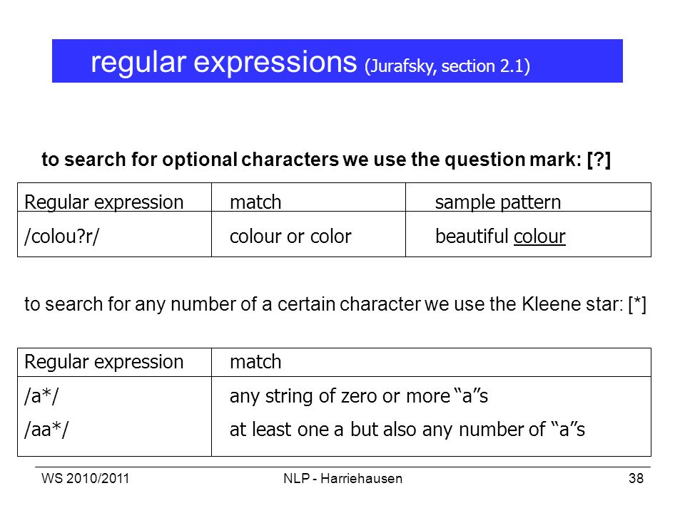 WS 2010/2011NLP - Harriehausen38 to search for optional characters we use the question mark: [?] Regular expression match sample pattern /colou?r/colo
