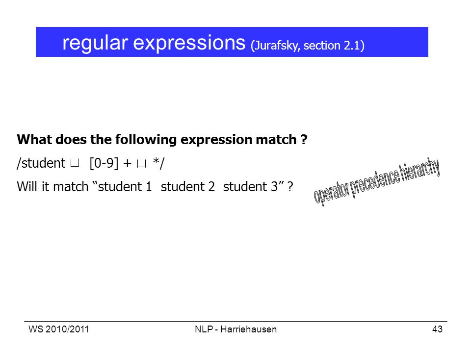 WS 2010/2011NLP - Harriehausen43 What does the following expression match ? /student [0-9] + */ Will it match student 1 student 2 student 3 ? regular