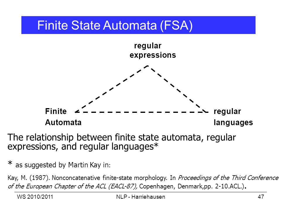 WS 2010/2011NLP - Harriehausen47 regular expressions Finite regular Automata languages The relationship between finite state automata, regular express