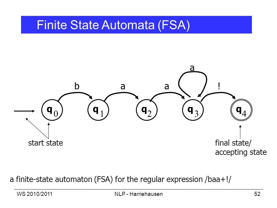 WS 2010/2011NLP - Harriehausen52 a finite-state automaton (FSA) for the regular expression /baa+!/ q 0 q q q q 1234 baa a ! start statefinal state/ ac