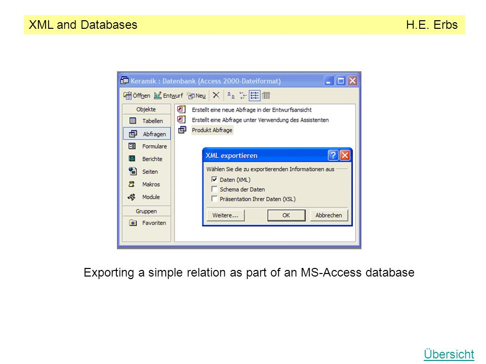 XML and Databases H.E. Erbs Übersicht Exporting a simple relation as part of an MS-Access database