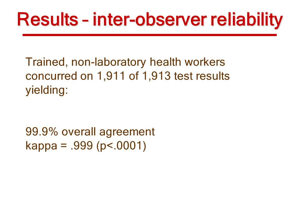 Results – inter-observer reliability Trained, non-laboratory health workers concurred on 1,911 of 1,913 test results yielding: 99.9% overall agreement