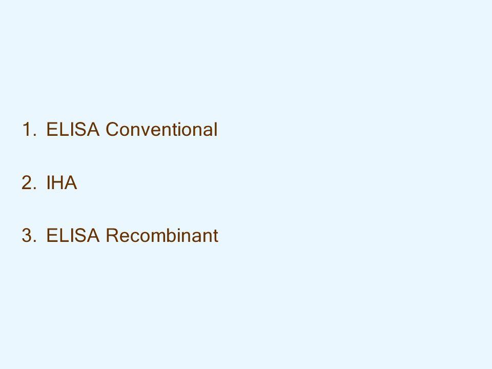1. 1.ELISA Conventional 2. 2.IHA 3. 3.ELISA Recombinant