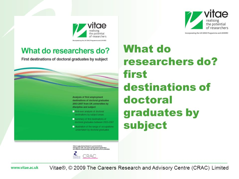 Vitae®, © 2009 The Careers Research and Advisory Centre (CRAC) Limited Employment circumstances biological sciences