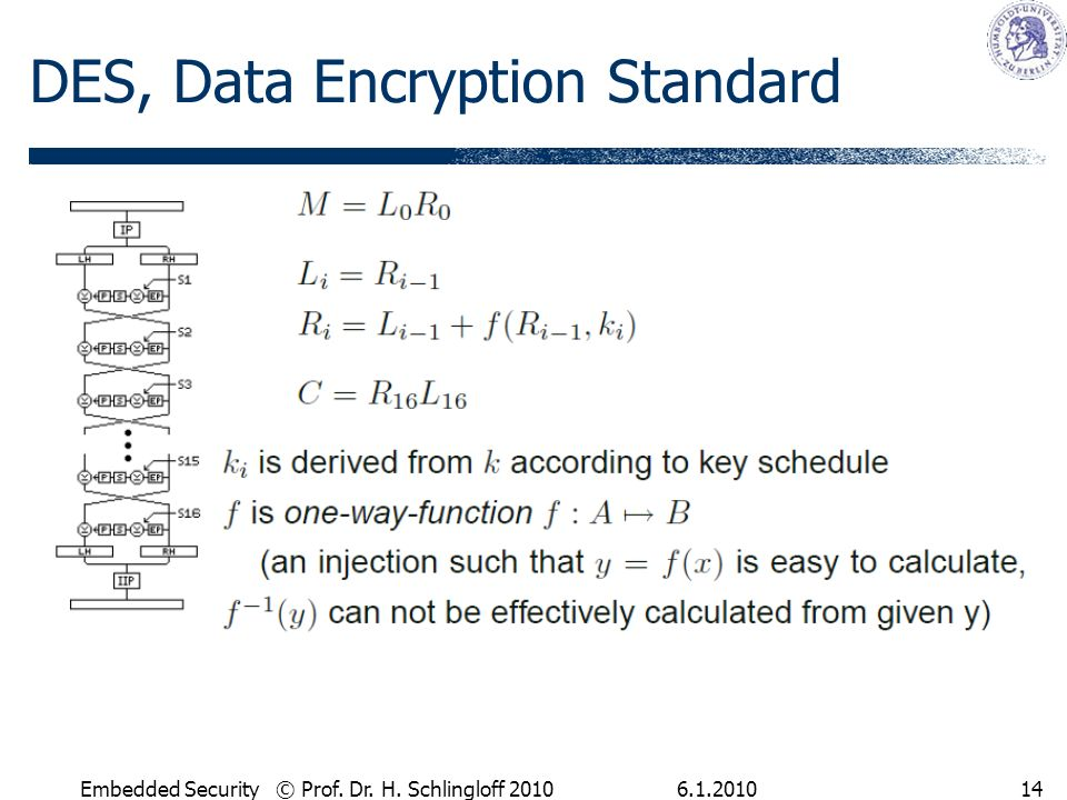 Embedded Security © Prof. Dr. H. Schlingloff DES, Data Encryption Standard