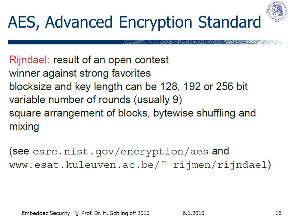 Embedded Security © Prof. Dr. H. Schlingloff AES, Advanced Encryption Standard