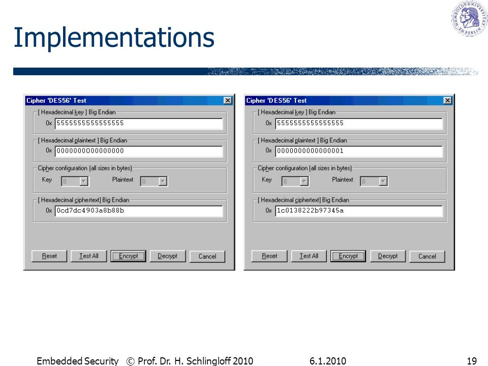 6.1.2010Embedded Security © Prof. Dr. H. Schlingloff 201019 Implementations