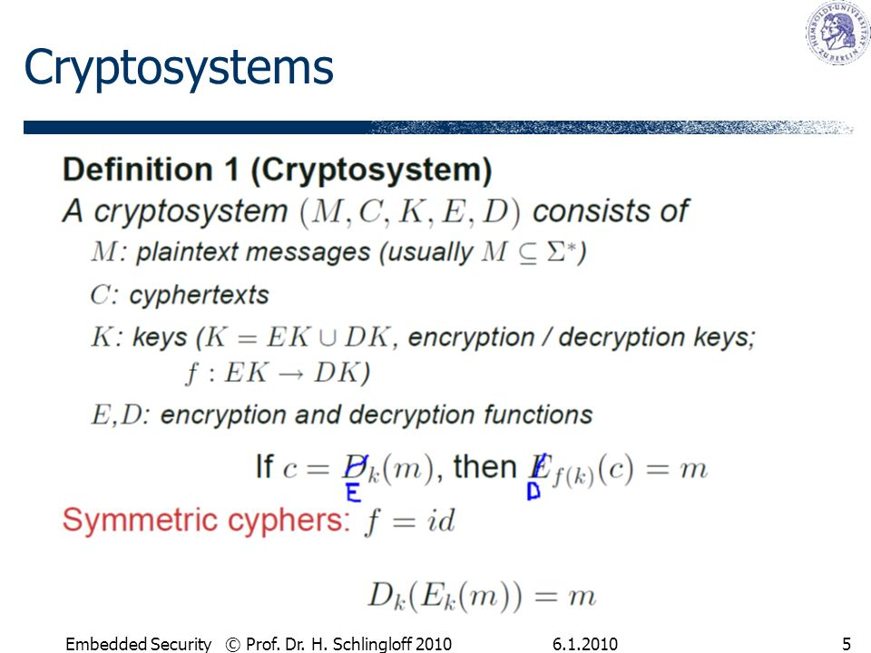 6.1.2010Embedded Security © Prof. Dr. H. Schlingloff 20105 Cryptosystems