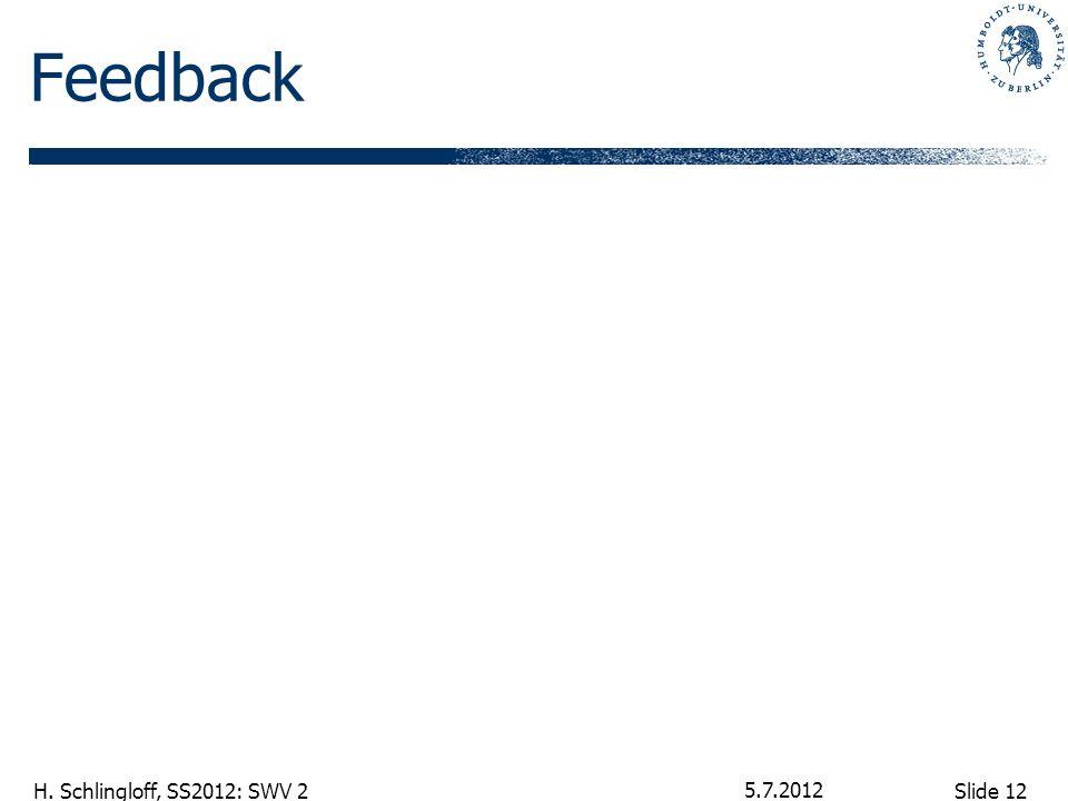Slide 12 H. Schlingloff, SS2012: SWV 2 Feedback 5.7.2012
