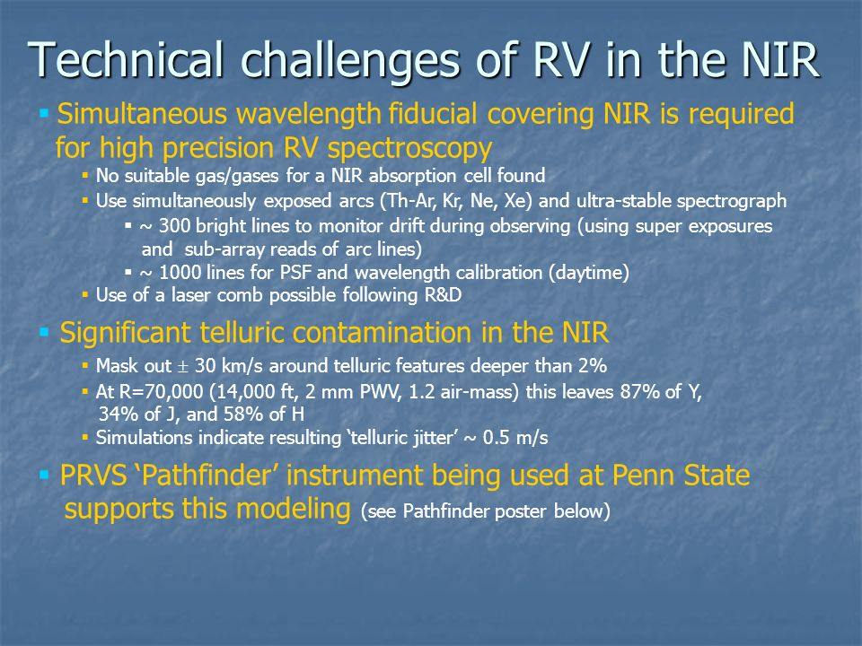 Technical challenges of RV in the NIR Simultaneous wavelength fiducial covering NIR is required for high precision RV spectroscopy No suitable gas/gas
