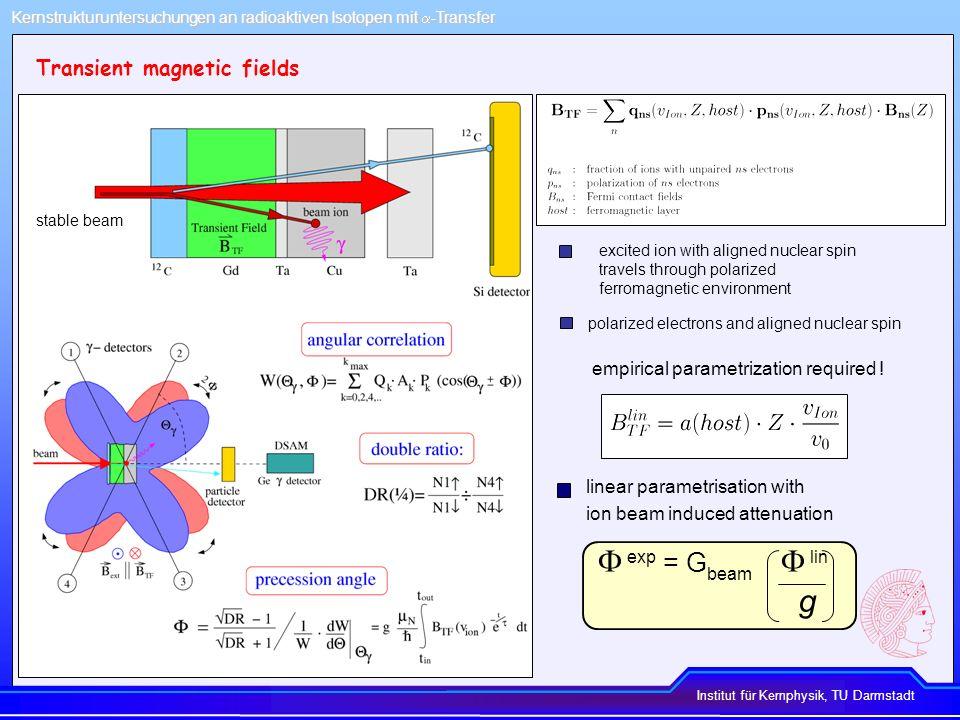 Institut für Kernphysik, TU Darmstadt Kernstrukturuntersuchungen an radioaktiven Isotopen mit -Transfer g-factor measurements using transfer Particle coincidence spectrum Particle- - angular correlation