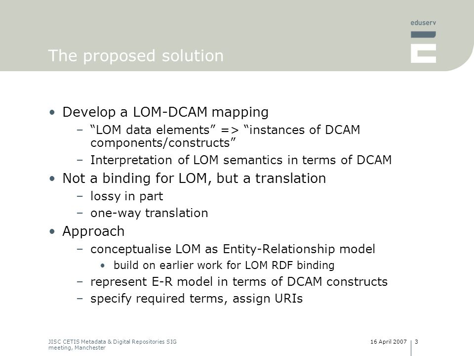LOM Conceptual Data Schema Dublin Core Abstract Model DC-RDF Instance DC-XML Instance conforms to bound to translate (lossy) bound to LOM Instance DC Description Set LOM-XML Instance DC Description Set Combined DC Description Set