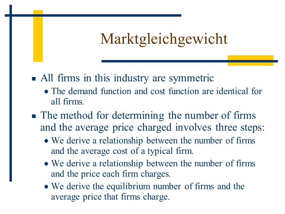 All firms in this industry are symmetric The demand function and cost function are identical for all firms. The method for determining the number of f