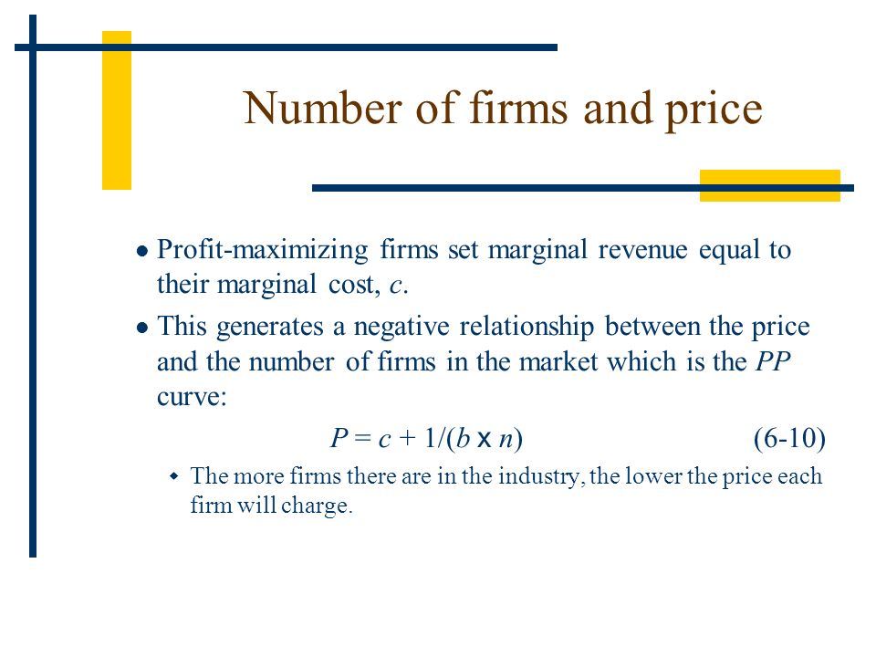 Profit-maximizing firms set marginal revenue equal to their marginal cost, c. This generates a negative relationship between the price and the number