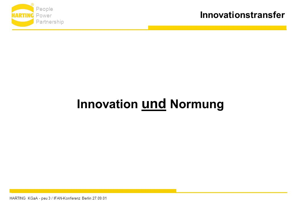 Innovationstransfer Innovation und Normung People Power Partnership HARTING KGaA - peu 3 / IFAN-Konferenz Berlin 27.09.01