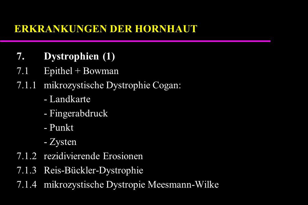 7.Dystrophien (1) 7.1Epithel + Bowman 7.1.1mikrozystische Dystrophie Cogan: - Landkarte - Fingerabdruck - Punkt - Zysten 7.1.2rezidivierende Erosionen 7.1.3Reis-Bückler-Dystrophie 7.1.4mikrozystische Dystropie Meesmann-Wilke ERKRANKUNGEN DER HORNHAUT