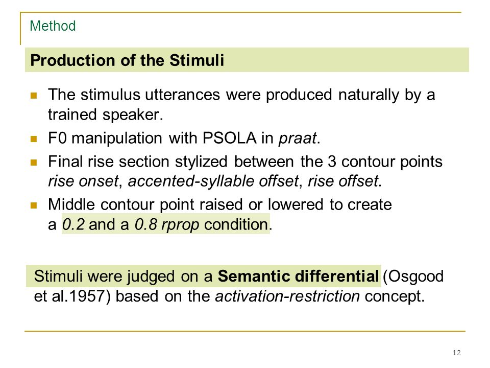 11 Method Stimulus utterances of the perceptual task Six syntactically marked questions: (1a) Bist du im Urlaub? (Are you on holiday?) Bist du im Urla