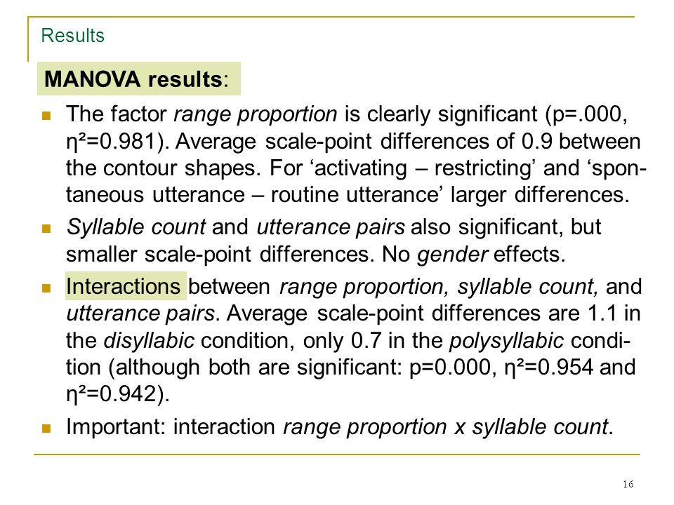 15 Statistical evaluation Repeated measures MANOVA, 4 factors and interactions Results Factor 1: range proportion, rprop 0.2 vs. 0.8 Factor 2: syllabl