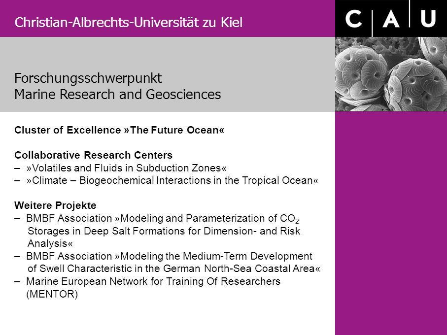 Christian-Albrechts-Universität zu Kiel Cluster of Excellence »The Future Ocean« Collaborative Research Centers – »Volatiles and Fluids in Subduction Zones« – »Climate – Biogeochemical Interactions in the Tropical Ocean« Weitere Projekte – BMBF Association »Modeling and Parameterization of CO 2 Storages in Deep Salt Formations for Dimension- and Risk Analysis« – BMBF Association »Modeling the Medium-Term Development of Swell Characteristic in the German North-Sea Coastal Area« – Marine European Network for Training Of Researchers (MENTOR) Forschungsschwerpunkt Marine Research and Geosciences