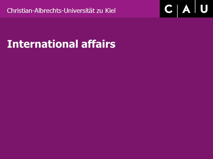 Christian-Albrechts-Universität zu Kiel International affairs