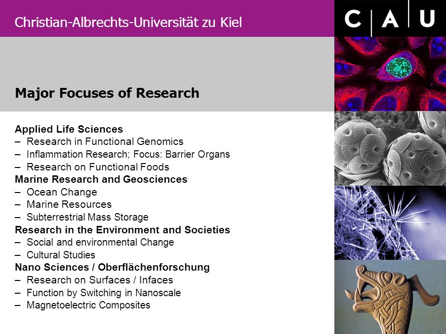 Christian-Albrechts-Universität zu Kiel Applied Life Sciences – Research in Functional Genomics – Inflammation Research; Focus: Barrier Organs – Resea