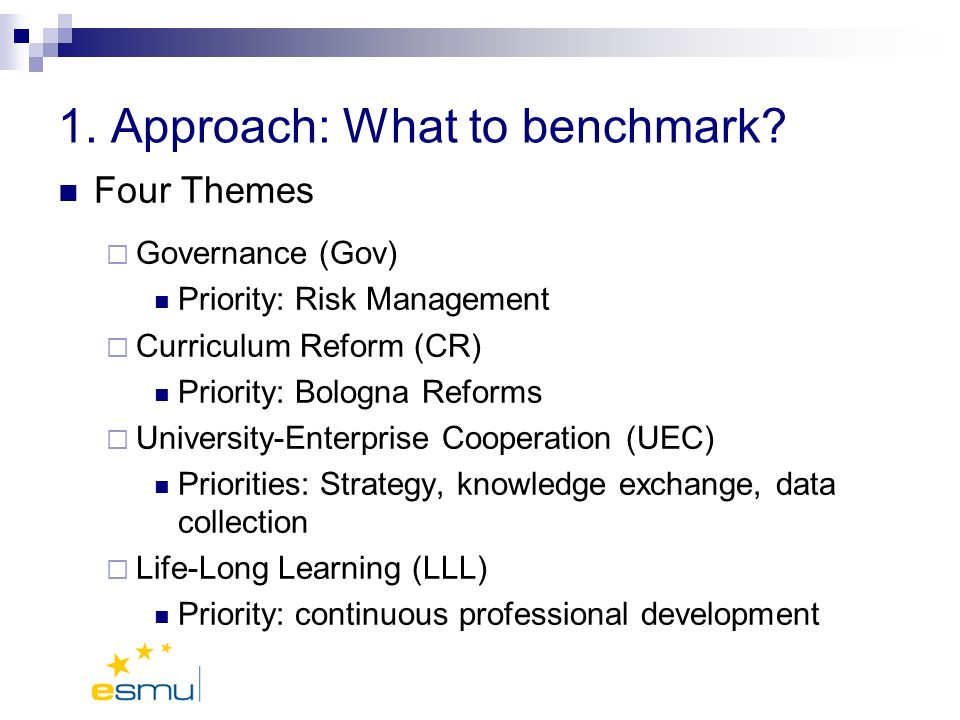 1. Approach: What to benchmark.