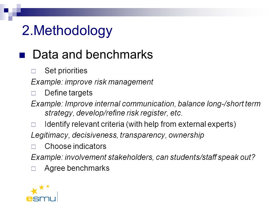 2.Methodology Data and benchmarks Set priorities Example: improve risk management Define targets Example: Improve internal communication, balance long