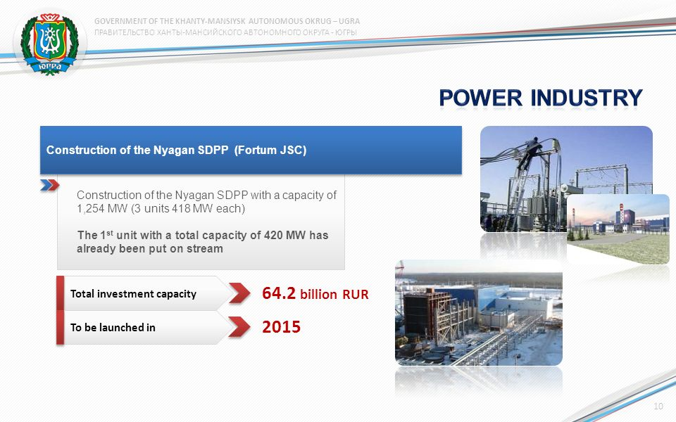 Construction of the Nyagan SDPP with a capacity of 1,254 MW (3 units 418 MW each) The 1 st unit with a total capacity of 420 MW has already been put on stream Construction of the Nyagan SDPP (Fortum JSC) Total investment capacity To be launched in 64.2 billion RUR 2015 10 ПРАВИТЕЛЬСТВО ХАНТЫ-МАНСИЙСКОГО АВТОНОМНОГО ОКРУГА - ЮГРЫ GOVERNMENT OF THE KHANTY-MANSIYSK AUTONOMOUS OKRUG – UGRA