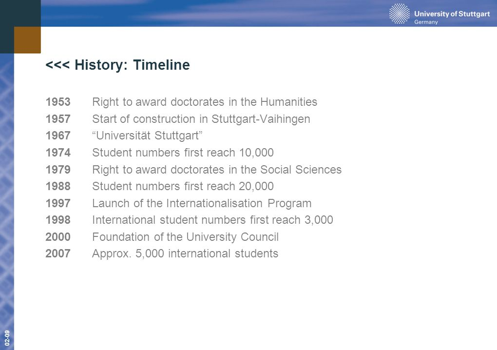 www.uni-stuttgart.de 01-09 02-09 <<< History: Timeline 1953Right to award doctorates in the Humanities 1957Start of construction in Stuttgart-Vaihingen 1967Universität Stuttgart 1974Student numbers first reach 10,000 1979Right to award doctorates in the Social Sciences 1988 Student numbers first reach 20,000 1997 Launch of the Internationalisation Program 1998International student numbers first reach 3,000 2000Foundation of the University Council 2007Approx.