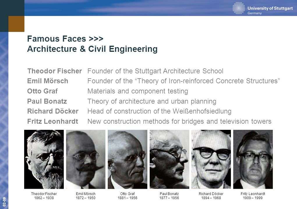 www.uni-stuttgart.de 01-09 02-09 Famous Faces >>> Architecture & Civil Engineering Theodor FischerFounder of the Stuttgart Architecture School Emil MörschFounder of the Theory of Iron-reinforced Concrete Structures Otto GrafMaterials and component testing Paul BonatzTheory of architecture and urban planning Richard DöckerHead of construction of the Weißenhofsiedlung Fritz Leonhardt New construction methods for bridges and television towers Fritz Leonhardt 1909 – 1999 Theodor Fischer 1862 – 1938 Emil Mörsch 1872 – 1950 Otto Graf 1881 – 1956 Paul Bonatz 1877 – 1956 Richard Döcker 1894 – 1968