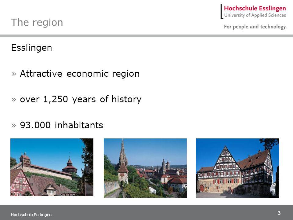4 Hochschule Esslingen The region Goeppingen »Traditional and innovative city »City of the Staufer dynasty and handball sports » 57,000 inhabitants