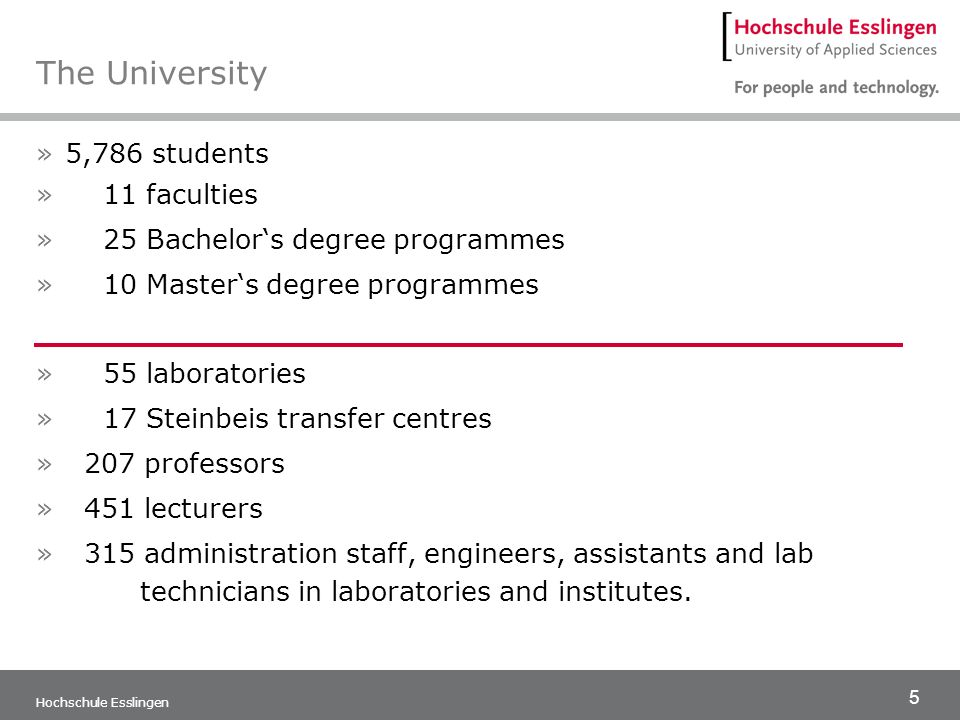 5 Hochschule Esslingen The University »5,786 students » 11 faculties » 25 Bachelors degree programmes » 10 Masters degree programmes » 55 laboratories