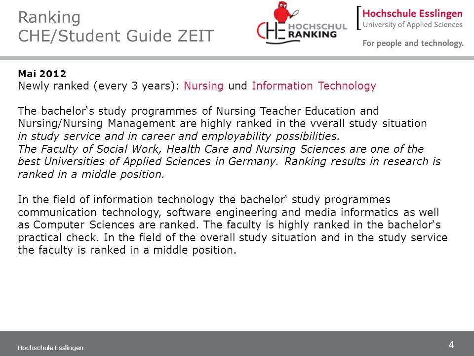 4 Hochschule Esslingen Mai 2012 Newly ranked (every 3 years): Nursing und Information Technology The bachelors study programmes of Nursing Teacher Edu