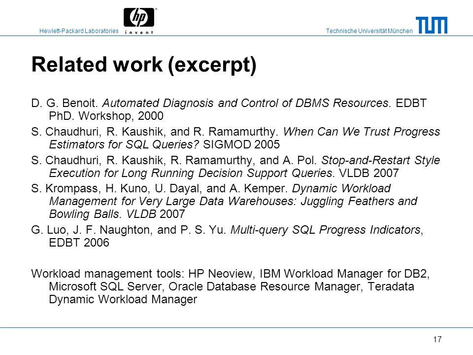 Technische Universität München Hewlett-Packard Laboratories 16 Conclusion Systematic study of workload management policies to mitigate the impact of l