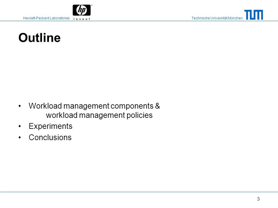 Technische Universität München Hewlett-Packard Laboratories 3 Outline Workload management components & workload management policies Experiments Conclusions