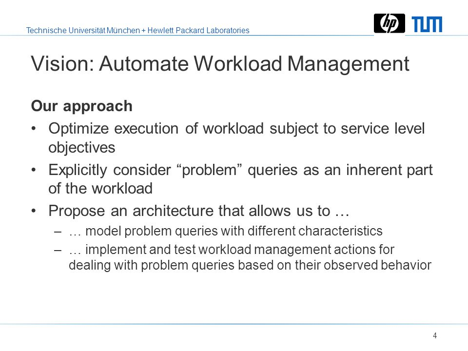 Technische Universität München + Hewlett Packard Laboratories 3 Why BI Workloads Differ from OLTP Workloads Complexity Resource demands Different type